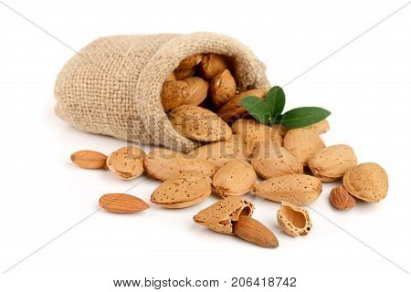 unpeeled almonds with leaf in bag from sacking isolated on white background.