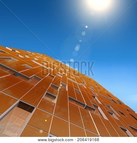 Skyscraper sunray. Design and 3d rendering model my own
