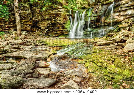 Elakala Waterfall In Blackwater Falls State Park In West Virginia During Autumn