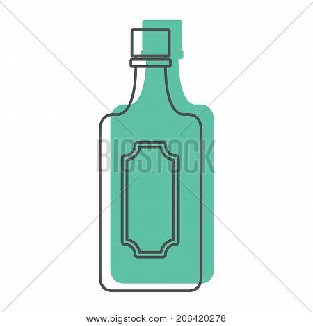 Bottle alcohol tequila in line with color silhouette style icons vector illustration for design and web isolated on white background. Bottle alcohol tequila vector object for labels