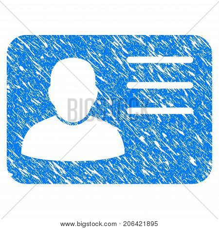 Grunge Account Card icon with grunge design and dirty texture. Unclean vector blue Account Card pictogram for rubber seal stamp imitations and watermarks. Draft sign symbol.