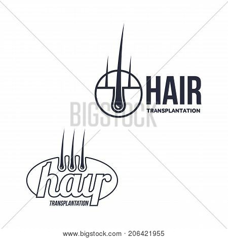 Hair follicle in hair bulb with human skin, dermis. Medical folicle transplantation company logo, brand icon pictogram design set. Vector flat silhouette illustration isolated on a white background.
