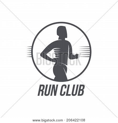 Run club logo, logotype template with jogging man, black and white vector illustration isolated on white background. Run club logo, badge, label design with half length portrait of running man