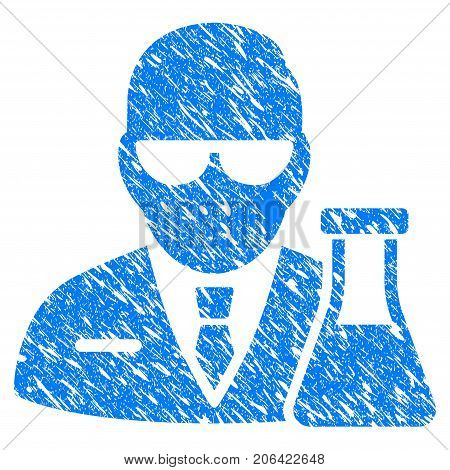 Grunge Chemical Scientist icon with grunge design and unclean texture. Unclean vector blue Chemical Scientist pictogram for rubber seal stamp imitations and watermarks. Draft sign symbol.