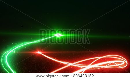 Red And Green Light Streak Breaks Out On A Black Background With Smoke And Light Particles 3D Illust