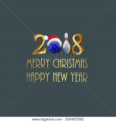 Vector 2018 Christmas and New Year template. Bowling 2018 Merry Christmas and New Year sign with bowling ball and skittle.