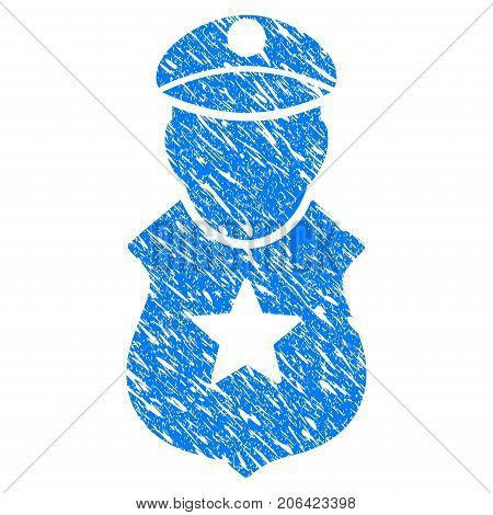 Grunge Guard Man icon with grunge design and scratched texture. Unclean vector blue Guard Man pictogram for rubber seal stamp imitations and watermarks. Draft sticker symbol.
