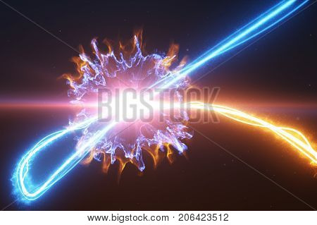 Cold And Hot Light Streak Breaks Out On A Black Background With Smoke And Light Particles And Explod