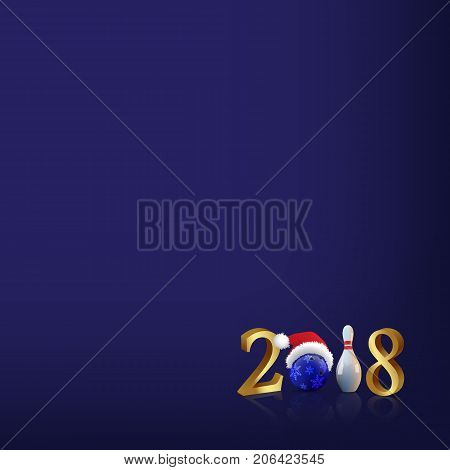 Bowling 2018 New Year sign with bowling ball and skittle on blue background. 2018 vector New Year template.
