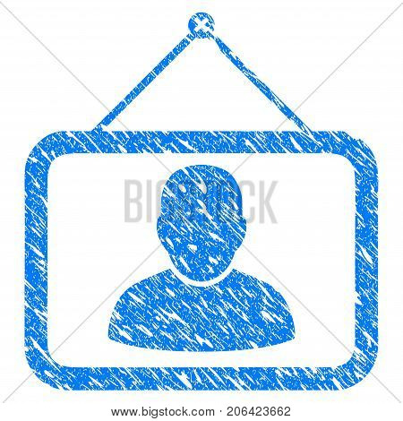Grunge Man Portrait icon with grunge design and scratched texture. Unclean vector blue Man Portrait pictogram for rubber seal stamp imitations and watermarks. Draft sign symbol.