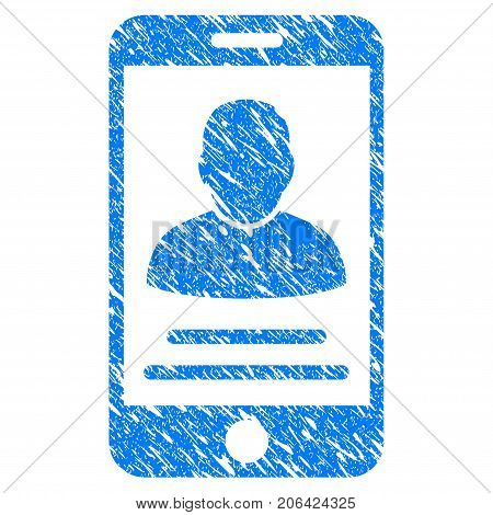 Grunge Mobile Account icon with grunge design and unclean texture. Unclean vector blue Mobile Account pictogram for rubber seal stamp imitations and watermarks. Draft emblem symbol.