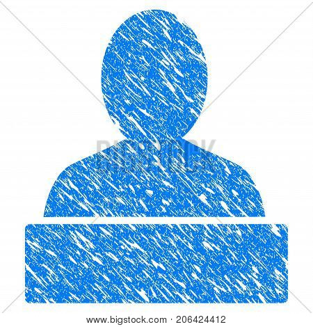 Grunge Monument icon with grunge design and dust texture. Unclean vector blue Monument pictogram for rubber seal stamp imitations and watermarks. Draft sticker symbol.
