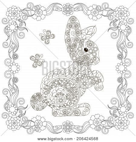 Anti stress abstract hare, butterflies, square flowering frame hand drawn monochrome vector illustration