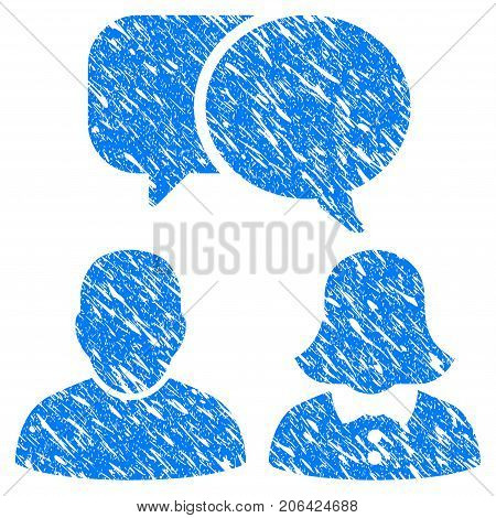 Grunge People Chat icon with grunge design and unclean texture. Unclean vector blue People Chat pictogram for rubber seal stamp imitations and watermarks. Draft sign symbol.