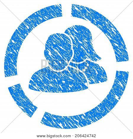 Grunge People Diagram icon with grunge design and dust texture. Unclean vector blue People Diagram pictogram for rubber seal stamp imitations and watermarks. Draft sign symbol.