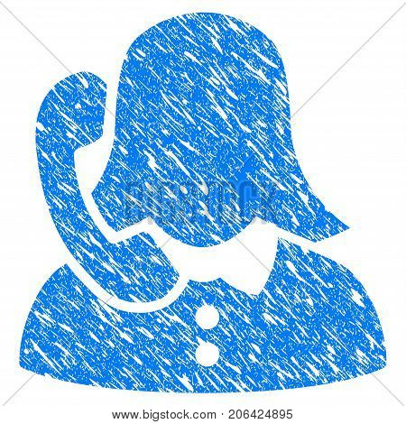 Grunge Phone Support icon with grunge design and scratched texture. Unclean vector blue Phone Support pictogram for rubber seal stamp imitations and watermarks. Draft sticker symbol.