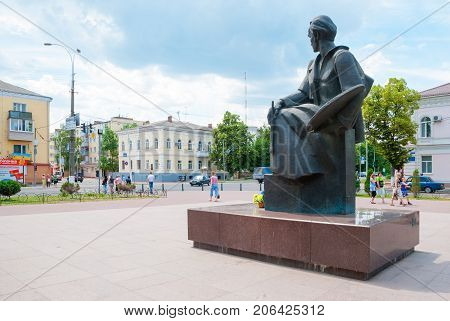 Priluki,Ukraine, June  08, 2011: Monument to Ukrainian poet Taras Shevchenko in the city Priluki. Ukraine