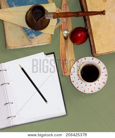Still Life Coffee Steam, A Teaspoon With A Curled Tip Lies On A Substrate Of Dried Sheet Of Iris, A