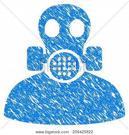 Grunge Toxic Work icon with grunge design and scratched texture. Unclean vector blue Toxic Work pictogram for rubber seal stamp imitations and watermarks. Draft sign symbol.
