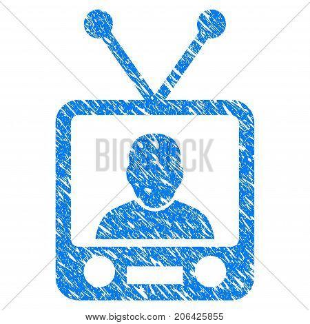 Grunge TV News icon with grunge design and dirty texture. Unclean vector blue TV News pictogram for rubber seal stamp imitations and watermarks. Draft emblem symbol.