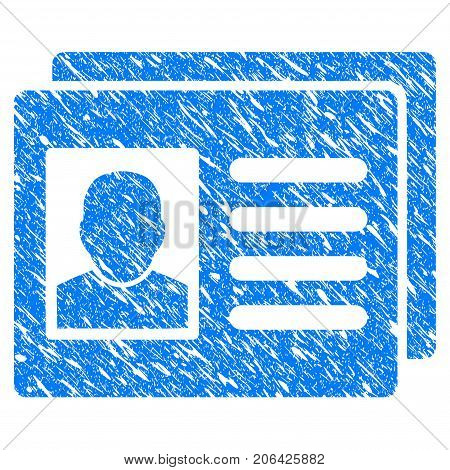 Grunge User Account Cards icon with grunge design and dust texture. Unclean vector blue User Account Cards pictogram for rubber seal stamp imitations and watermarks. Draft emblem symbol.