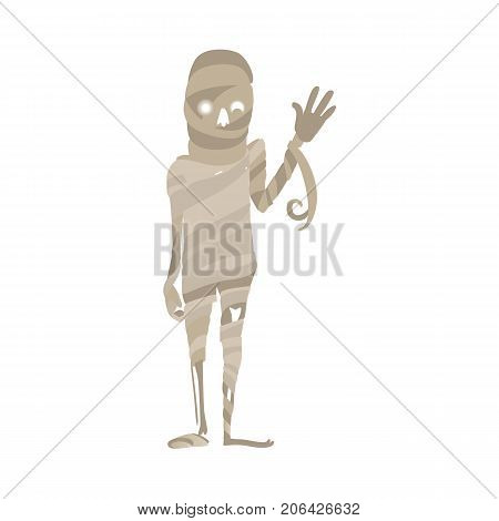 Scary, spooky mummy waving hello, Egypt symbol, Halloween costume, flat cartoon vector illustration isolated on white background. Egyptian mummy, dead, undead monster, hand raised in greeting