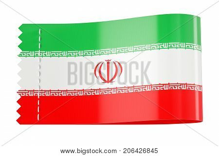 Clothing tag label with flag of Iran. 3D rendering isolated on white background