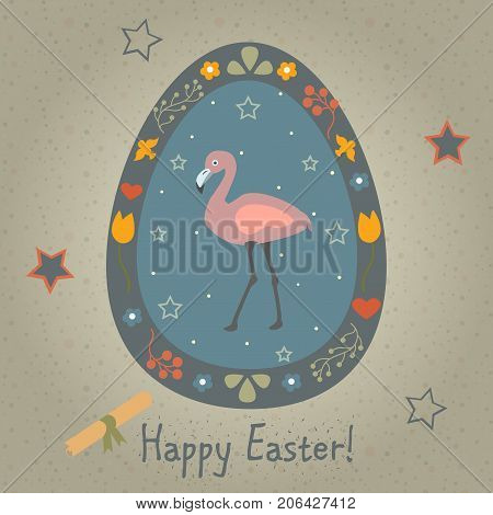 Festive Easter Egg with Cute Flamingo Bird. From Happy Easter Animal Collection. Creative Card. Vector Illustration.