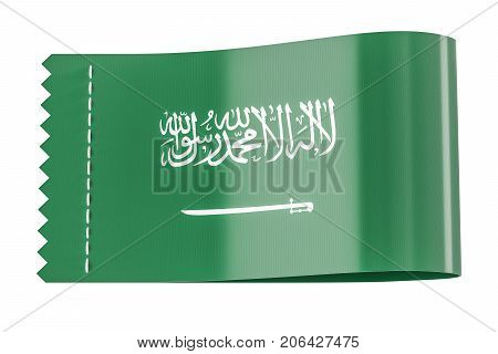 Clothing tag label with flag of Saudi Arabia. 3D rendering isolated on white background