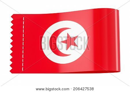 Clothing tag label with flag of Tunis. 3D rendering isolated on white background