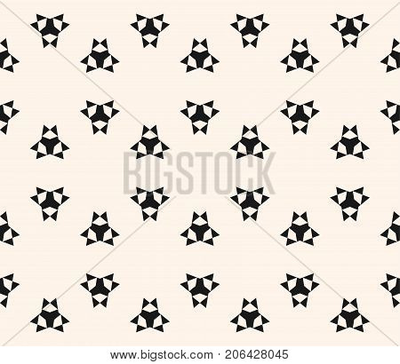 Vector geometric seamless pattern with simple figures, triangles, stars, sharp shapes. Abstract monochrome geometric background texture, repeat tiles, pattern Stylish minimalist design. Decor pattern, prints pattern, covers pattern, fabric pattern