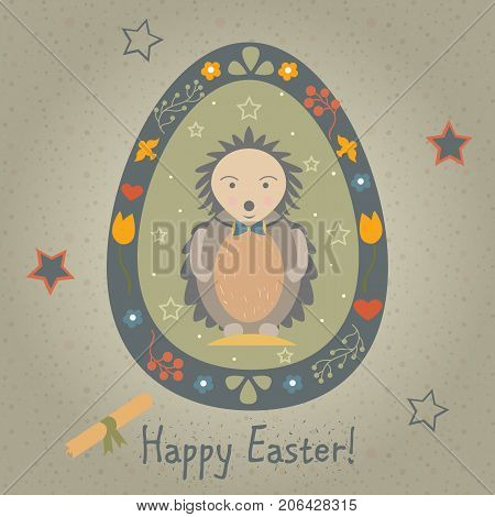 Festive Easter Egg with Cute Character in Funny Dress. From Easter Animal Collection. Creative Card. Vector Illustration.