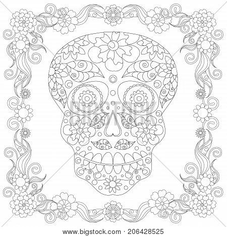 Doodle stylized black and white sugar skull in floral frame hand drawn, monochrome stock vector illustration