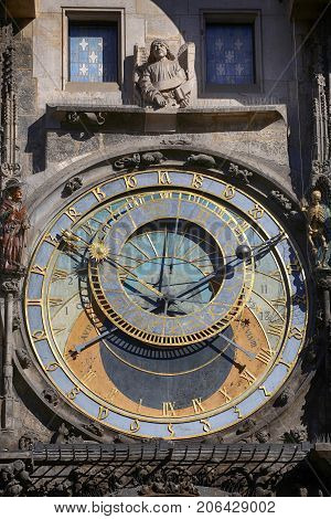 Astronomical clock Orloj at Old Town Square in Prague Czech Republic
