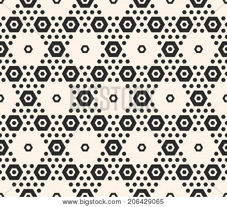 Hexagons vector pattern. Abstract geometric seamless texture with hexagonal grid. Elegant monochrome honeycomb background. Modern geometrical design for prints, decor, textile, furniture, cloth, wrap.