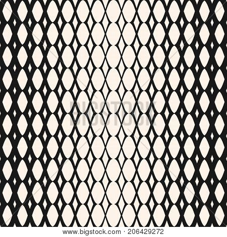 Halftone mesh seamless pattern. Vector monochrome geometric texture with gradient transition effect. Hipster fashion background. Gradually thickness lattice. Halftone design. Decor pattern, fabric pattern, textile pattern. Repeat tiles