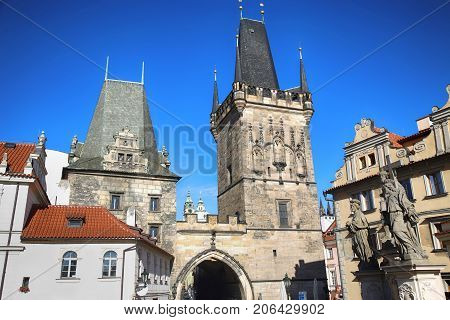 View of the Lesser Bridge Tower from the Charles Bridge (Karluv Most) in Prague Czech Republic