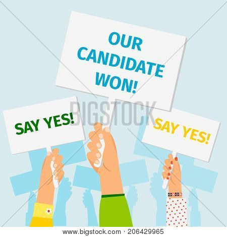 Hands holding Presidential Election posters on blue backdrop. Vector illustration