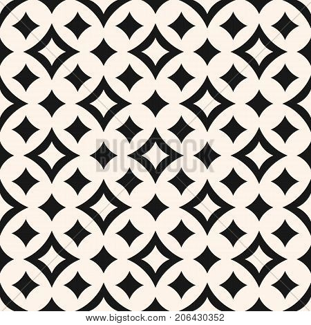 Vector seamless pattern with diamond shapes, big and small curved rhombuses, smooth lines. Simple abstract monochrome geometric background, repeat tiles. Elegant diamond texture, rhombus pattern. Design for decoration, fabric, textile, prints