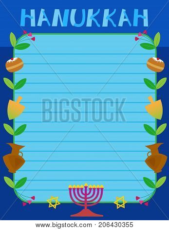 Hanukkah sign with Hanukkah elements as a border. Eps10