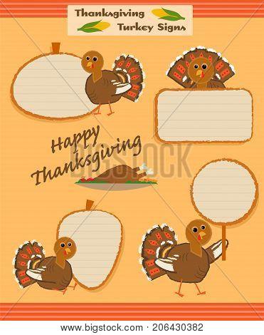 Set of four cartoon thanksgiving turkey signs. Eps10