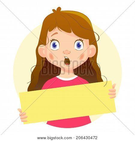 Surprised Girl holding blank poster. Blank message illustration. Hands holding blank paper