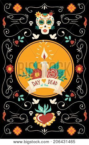 Day Of The Dead Hand Drawn Mexico Skull Decoration