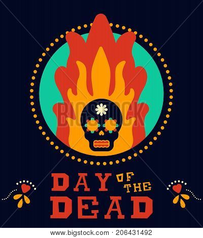 Day Of The Dead Vintage Mexico Sugar Skull In Fire