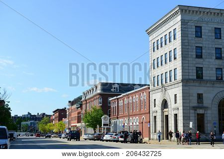 CONCORD, NH, USA - MAY. 19, 2014: Historic Building on Main Street in downtown Concord, New Hampshire, USA.