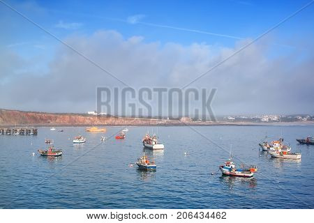 Bay port, for fishing boats in Sagres, Faro Portugal, Algarve