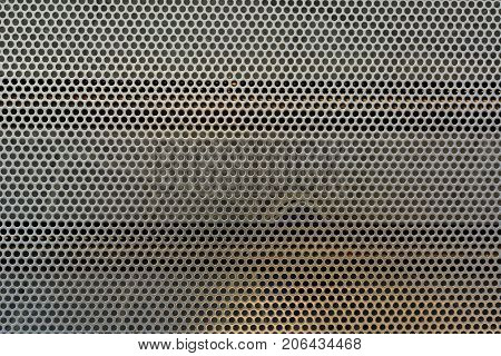 Metal net circle texture background. Gray color.