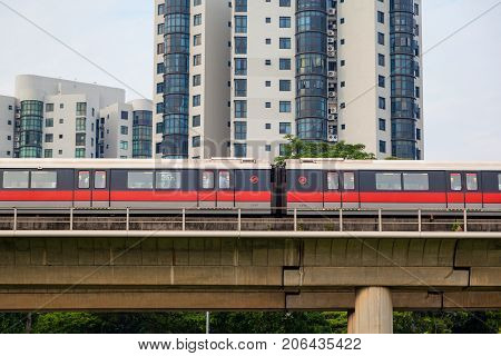 Singapore Subway Train On Elevated Tracks