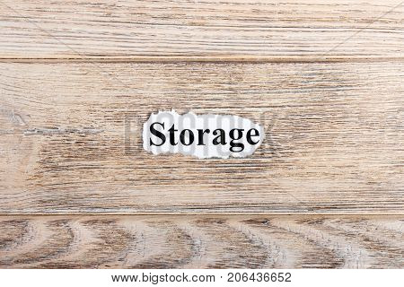 Storage text on paper. Word Storage on torn paper. Concept Image.