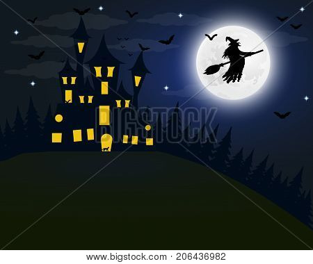 Halloween, the witch s house on the full moon. Bats and an old granny on a broomstick